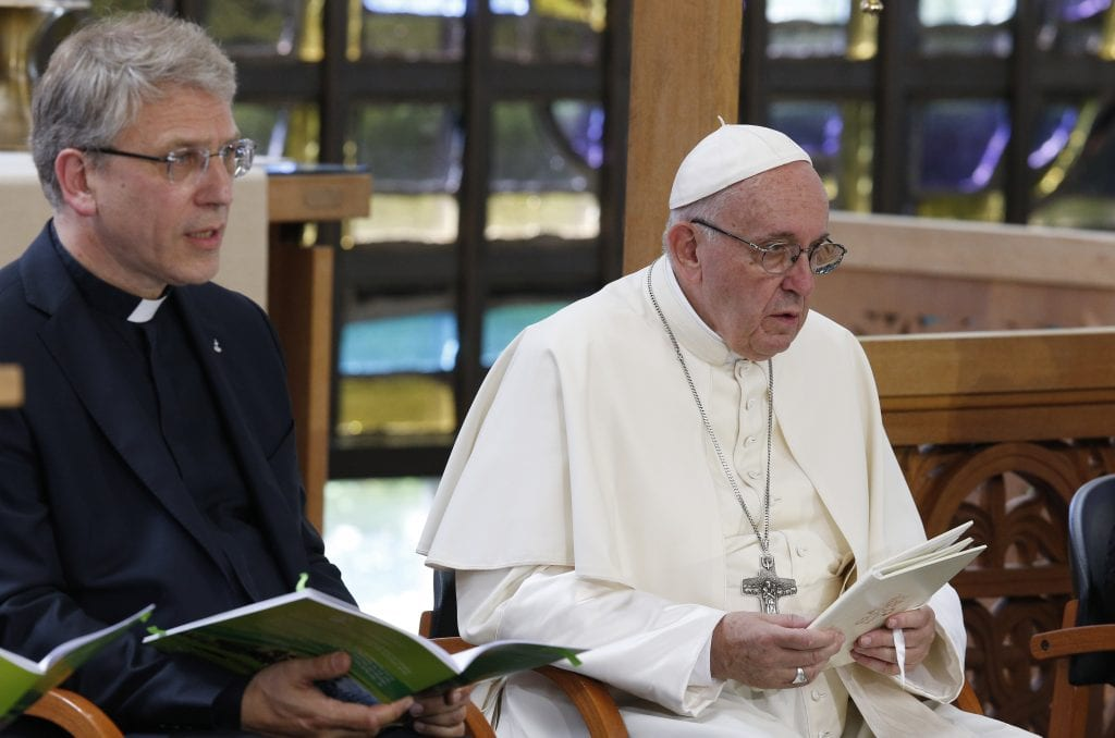 Outgoing WCC Head with Pope Francies